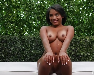 Black starlet with natural boobs shagged at casting