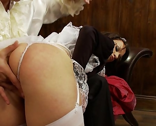 Cock-craving maid with fine ass bends over for a good fuck