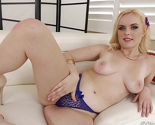 Pretty blonde girl with perky tits takes BBC in the ass