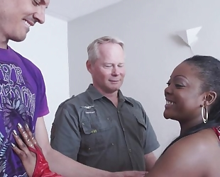 Spunky ebony gets properly fucked by two horny white dudes