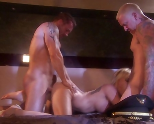 Horny blonde nympho shagged by two cocky buddies