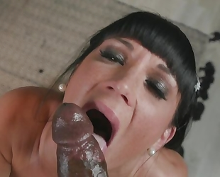 Dark-haired bitch enjoys savage interracial fuck