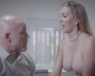 Bald-headed businessman fucks his gorgeous secretary