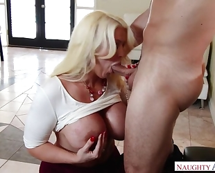 Bosomed housewife gets her horny asshole drilled and creamed