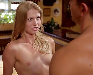 Sensual blonde babe gets nicely fucked on the table