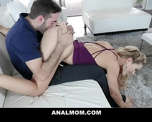 Perverted blonde MILF rides stepson's cock with her asshole