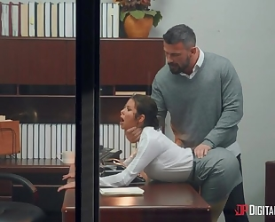 Dark-haired mature with huge melons shagged by her boss