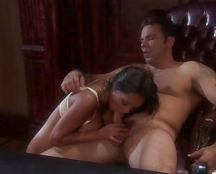 Exotic brunette with big tits gets properly fucked in the office