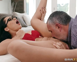 Russian MILF grinds her pussy on a big throbbing cock