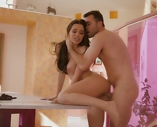 Drop dead gorgeous brunette gets a hard fuck from James Deen