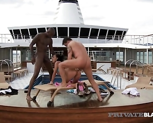 Two horny boat captains fuck kinky brunette in both holes