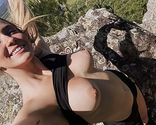 Slim-bodied vixen with natural tits gets fucked on a cliff