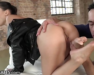 Glamorous Euro babe takes rock hard cock in her butt