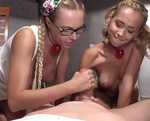 Horny stud bangs two raunchy blonde ladies in the hostel room
