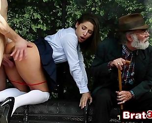 Naughty school-girl abella danger gives stranger oral-sex in front of her grandpapa