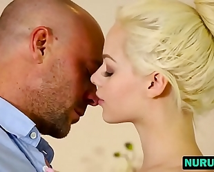 Elsa jean massage slutty wife showed great skills french giving a kiss on tattooed paramour