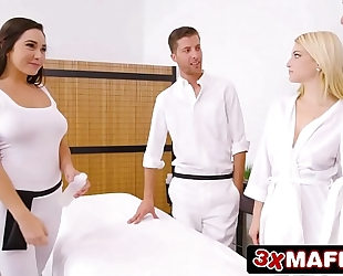 Super sexy masseuse karlee grey fucking favourable man whilst his cheating wife is sleeping