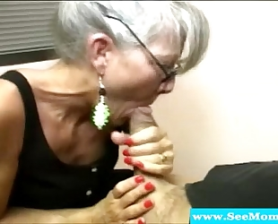 Mature mother with spex sucking ramrod