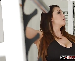 Alison tyler with biggest boobs drilled after workout