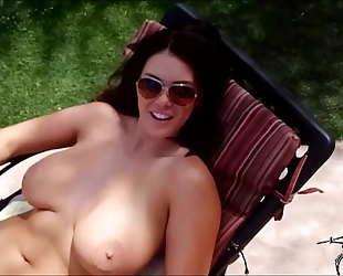 Alison acquires caught fucking by a drone by the poolside with her chatmate