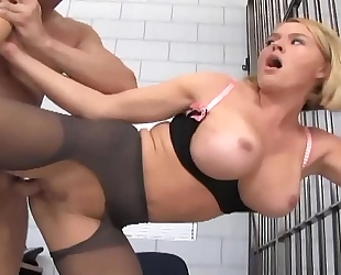 Officer footjob and fucking in ripped up stockings