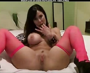Hot breasty milf with red nylons marital-device play